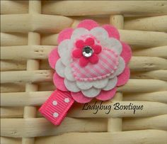 Sweet Felt Flower Clip  Pink Valentine by LadybugBowtique on Etsy, $3.49...pretty in pinks