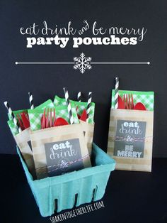 Party pouches help corral silverware and no one forgets their napkin!  Cute printable tags, too!