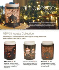 Our Silhouette Scentsy Collection - Holiday style! (left to right - All Hallows, Joy to the World, Nativity). If you already have the Silhouette warmer base, you can purchase these wraps separately! I looove this idea! Change the look in a matter of seconds. Available September 15th 2012 www.wax4u.com #Halloween #Christmas