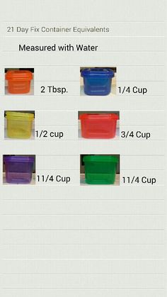21 day fix containers measured with water