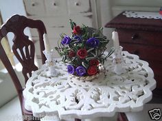 Dollhouse Miniature One inch Scale Floral Centerpiece by Cspykersminiatures   eBay