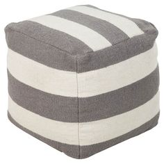 Handmade striped pouf.  Product: PoufConstruction Material: WoolColor: GrayFeatures:...