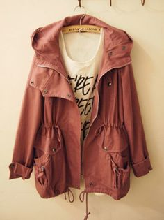 jacket parka dark pink coat clothes burnt sienna fall fall outwear hooded jacket red