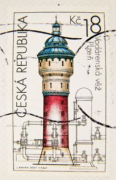 great stamp Czechia Ceska 18 Kc (1907 a.d., water tower of Pilsner Urquell Brewery, Wasserturm, Château d'eau, Torre de agua, Водонапорная башня) poštovní známky Česko postzegels Tsjechië sellos Checa postimerkit Czechia почтовые марки Чехии timbres-poste
