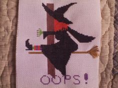 HALLOWEEN FINISHED COMPLETED CROSS STITCH