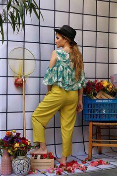 """MIRANDA"" high waisted trousers in lime and ""IANTHE"" top. #karavan #karavanclothing #karavangirl #mermaidsandrascals #ss16 #summer16 #summer  #miranda #trousers #ianthe  #top #love #greekdesigners"