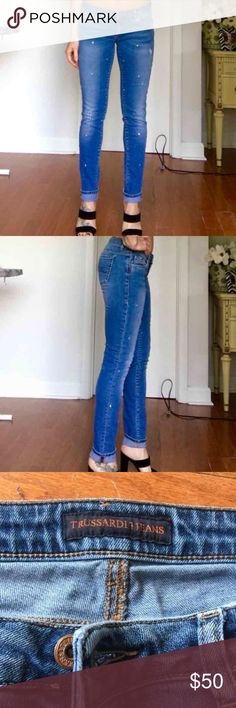 Authentic Trussardi jeans with stones 💙💎 Very good condition , missing few stones but not visible Trussardi Jeans Skinny