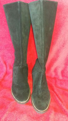 5ca3b2b44ef BLACK SUEDE KNEE HIGH WOMEN S BOOTS SIZE 7.5 M MADE IN BRAZIL  fashion   clothing
