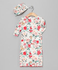 Take a look at this White Callie's Floral Organic Gown & Beanie - Infant by Mad Sky on #zulily today!