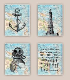 Nautical Prints, Lighthouse, anchor, sailor knots, scuba diver helmet, Set 4 prints 11x14, sailing map art, coastal decor, beach living on Etsy, $60.00