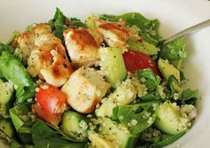 This is a simple chicken salad with a healthy twist. Make it more filling by adding quinoa, and use a healthy dressing of olive oil, lemon and seal salt.