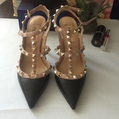 Valentino Signature Rockstuds Matte Leather Black Receipt from Valentino available. Valentino 2015 fall signature Rockstuds in matte black, features 2 straps with studs. Heels approximately 10cm. Professional padded sole. Please email for price and detail. Valentino Shoes