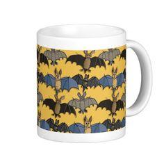 Coffee mud bustling with cute cartoon bats drawn by mysel :)