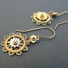 recycled cog earrings
