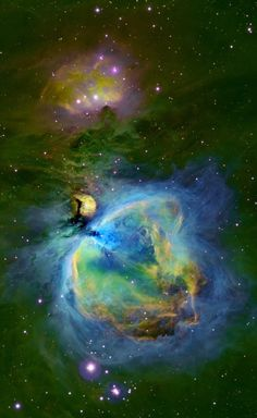 M42 The Orion Nebula in Mapped Color This image was created using the Hubble color palette. The colors follow the spirit of the palette and the hydrogen (green), sulfur (red) and oxygen (blue) areas can easy be identified. The Orion Nebula (also known as Messier 42, M42, or NGC 1976) is a diffuse nebula situated south of Orion's Belt. It is one of the brightest nebulae, and is visible to the naked eye. M42 is located at a distance of 1,270±76 light years and is the closest region of massive…