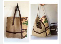borsa juta e pelle regalo per lei, borsa donna mimetica original design, made in italy, borsa tracolla in pelle e interno in tessuto cotone di BBagdesign su Etsy