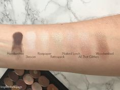 MAC Neutral Eyeshadow Collection Swatches Handwritten Shroom Ricepaper Retrospeck Naked Lunch All That Glitters Woodwinked NC35 skin