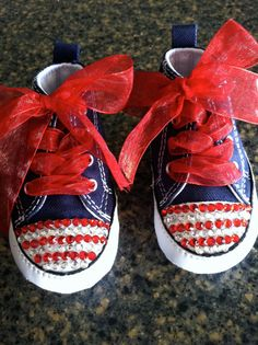 Items similar to Converse Rhinestone Embellished Infant  Crib Shoes for  Fourth of July Size 3 on Etsy 9929f96c8