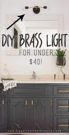 DIY modern brass light for the bathroom - Home Decorations Inexpensive Home Decor, Cute Home Decor, Cheap Home Decor, Diy Bathroom Decor, Home Decor Kitchen, Bathroom Ideas, Downstairs Bathroom, Master Bathroom, Modern Light Fixtures