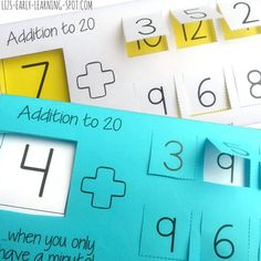 Here's a quick, easy and free addition to 20 printable that will give your kids effective math practice in a hurry. Kindergarten Math Games, Fun Math Games, First Grade Classroom, 1st Grade Math, Math Addition, Addition And Subtraction, Math Stations, Math Centers, Math Made Easy