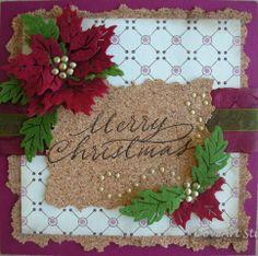 """Merry Christmas"" Card Creative Impressions Ribbon/Flowers/Brads/Cork Paper"