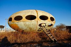 """The """"Futuro House""""  in Rockwall, Texas, as photographed by Steve Rainwater.  The Futuro House was a  prefabricated house designed by Finnish architect Matti Suuronen, of which fewer than 100 were built during the late 1960s and early 1970s.  Roughly 60 survive tody.  There is another one in Royce City, about 10 miles away from this one.  You can see 42 photos of this house on Steve's Flickr page, here: https://www.flickr.com/photos/steevithak/tags/futurohouse/"""