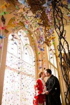 Drew and Lynn's Japanese-themed Wedding with 1000 Paper Cranes