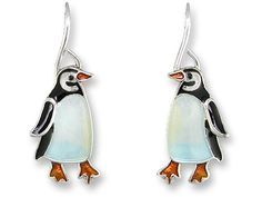 "Our Little Penguin Wire Earrings are meticulously handcrafted enamel on sterling silver. These penguin earrings are 1 1/8"" and make a wonderful and unique gift for the penguin lovers who appreciate fi"