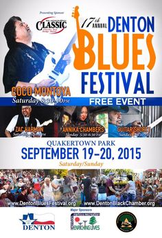 The Denton Blues Festival 2015, Sept 19 & 20 in Quakertown Park, is a favorite annual event!