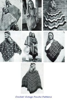 Crochet Vintage Poncho Patterns - A Collection of Poncho Patterns for Women, Men, Mother and Daughter by Craftdrawer Craft Patterns