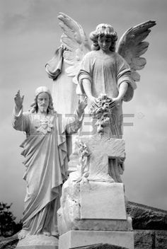Series of Cemetery Angels and monuments from New Orleans Stock