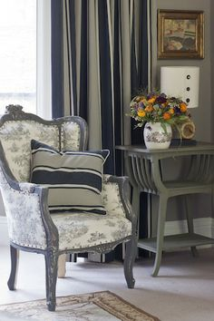 French; Paris Noir Ticking and Pastoralle toile on the chair painted in Graphite.  Table in Chateau Grey  (1)