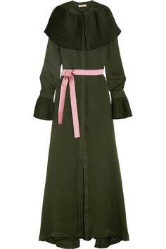 Merchant Archive   Pleat-trimmed silk crepe de chine maxi dress   NET-A-PORTER.COM