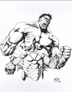 Hulk & Ironman Comic Art