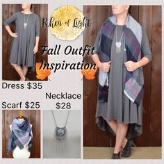 Here's some cute fall outfit inspiration 👏🏻🍁 Dress $35 https://rheaoflight.com/products/heather-grey-3-4-sleeve-swing-dress-with-hi-low-hem Scarf $25 https://rheaoflight.com/collections/rol-goodies/products/copy-of-paisley-elephant-print-scarf  Necklace $28 https://rheaoflight.com/collections/jewelry/products/silver-necklace-with-turquoise-and-fringe-30 ----------📦📦FREE SHIPPING📦📦--------
