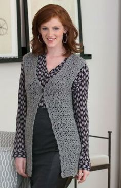 Styled to Work Vest Free Crochet Pattern from Red Heart Yarns