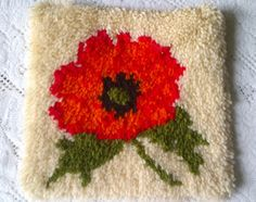 Vintage Hooked Rug Poppy Pillow Cover Case - Red Black Green White - New Old Stock - Unused