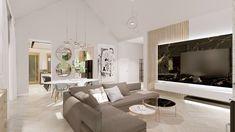 Projekt Iness-czarny marmur-szary narożnik-nowoczxesne lampy-jasny salon Oversized Mirror, Glamour, Studio, Furniture, Home Decor, Living Room, Decoration Home, Room Decor, Studios