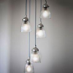 Suspension en verre et nickel 5 ampoules Paris