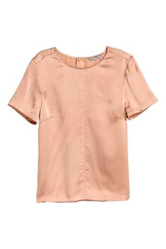 Short-sleeved silk blouse - Powder beige - Ladies | H&M GB