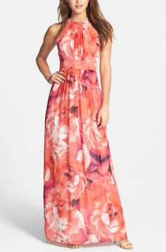 Lovely pink chiffon maxi dress.