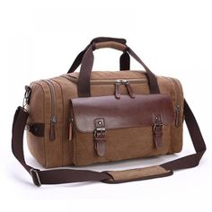 Canvas Leather Travel Bag Men Tote Bag Carry-On Shoulder Handbag Luggage ! Canvas Leather Travel Bag Men Tote Bag Carry-On Shoulder Handbag Luggage !A… Canvas Leather Canvas Weekender Bag, Canvas Travel Bag, Bags Travel, Crossbody Bags For Travel, Mens Travel Bag, Tote Bag, Duffel Bags, Cheap Travel, Travel Luggage