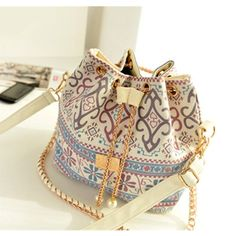 Bohemia Canvas Drawstring Handbag