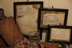 Framed Family Recipes...what could be more meaningful in a kitchen? Great gift idea for a bride or new home owner!
