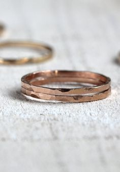 Pink gold stacking rings hammered bands set of 2 door PraxisJewelry