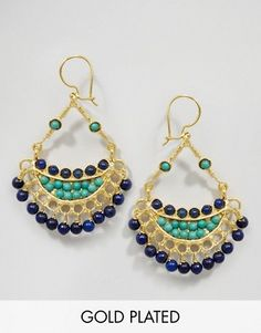 Ottoman Hands Lapis & Thurquoise Earrings