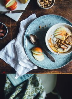 Buckwheat Apple Tahini Porridge with Dates & Walnuts | Cashew Kitchen