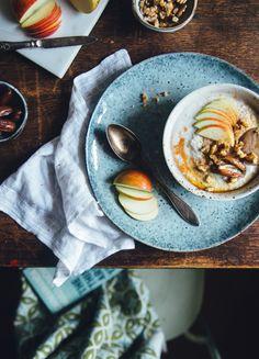 Buckwheat Apple Tahini Porridge with Dates & Walnuts | Cashew Kitchen