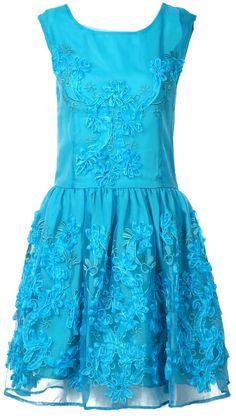 Blue Lace Embroidery Dress ♡ Feminine and Fabulous.