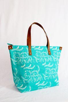 Turquoise Ikan Batik Tote Bag van TheYellowClouds op Etsy